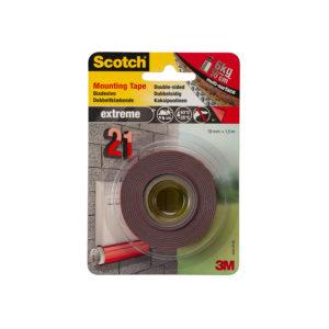 3M Scotch Nastro Biadesivo Permanente per Montaggio Extra-Forte, 19 mm x 1.5 m, Grigio